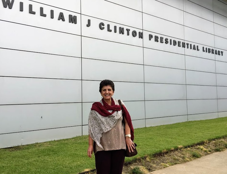 Rosa at Clinton's Library